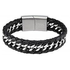 Браслет ZIPPO, чёрный, нержавеющая сталь/натуральная кожа, 20x1.80x0.70 см 2006240