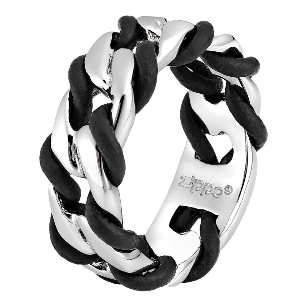 Кольцо ZIPPO, серебристо-чёрное, нержавеющая сталь, 0.9x0.35 см, диаметр 19.1 мм 2006251