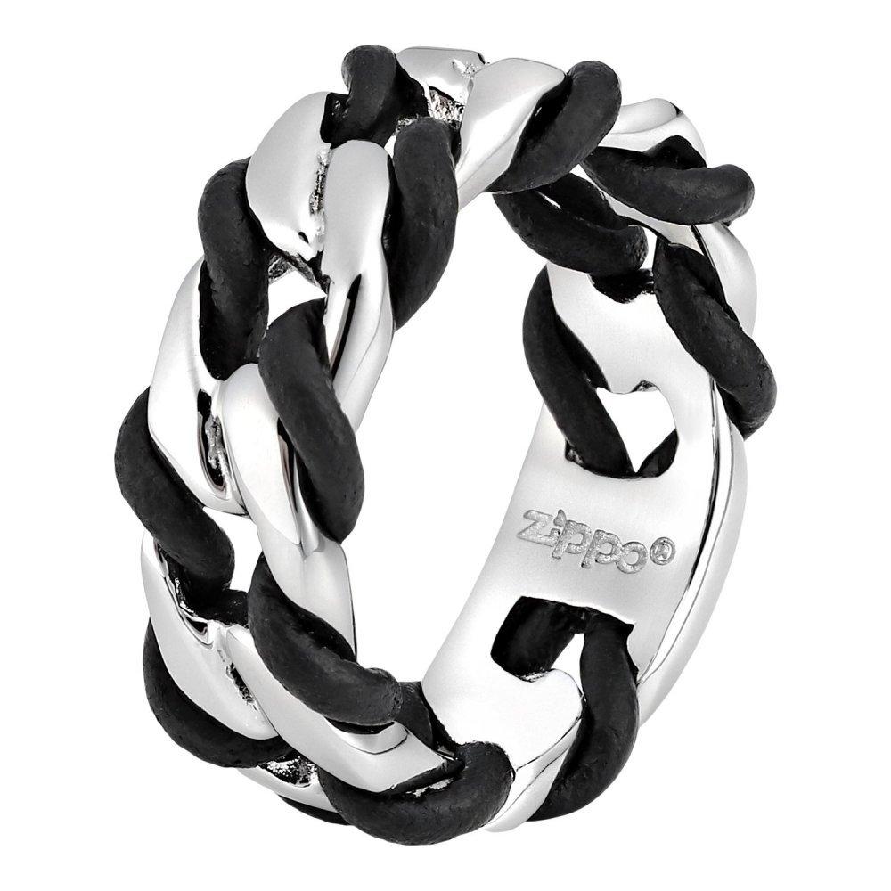 Кольцо ZIPPO, серебристо-чёрное, нержавеющая сталь, 0.9x0.35 см, диаметр 19.7 мм 2006252