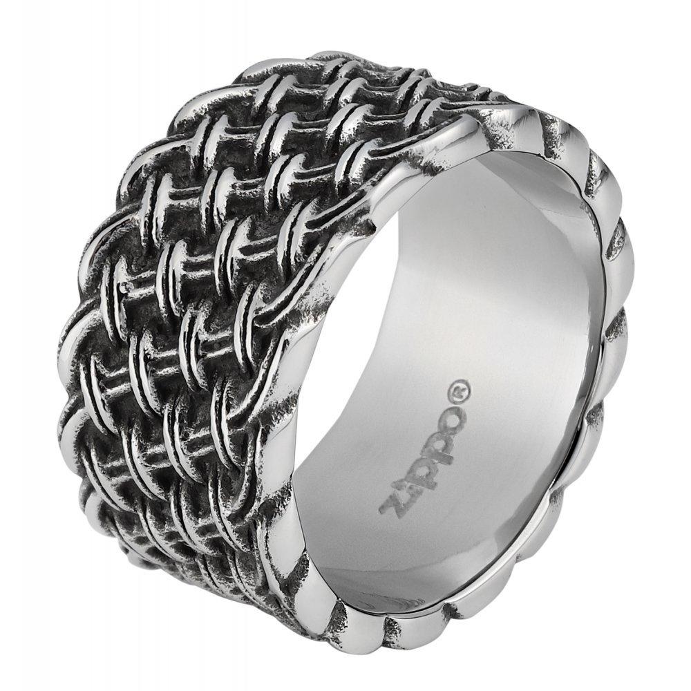 Кольцо ZIPPO, серебристое, с плетёным орнаментом, нержавеющая сталь, 1.2x0.2 см, диаметр 19.7 мм 2006256