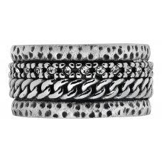 Кольцо ZIPPO, серебристое, с цепочным орнаментом, нержавеющая сталь, 1.2x0.25 см, диаметр 19.1 мм 2006259