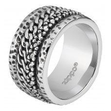 Кольцо ZIPPO, серебристое, с цепочным орнаментом, нержавеющая сталь, 1.2x0.25 см, диаметр 19.7 мм 2006260