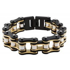 Браслет ZIPPO, чёрно-золотистый, в форме мотоциклетной цепи, нержавеющая сталь, 20x1.60x0.80 см 2006267