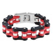 Браслет ZIPPO, чёрно-красный, в форме мотоциклетной цепи, нержавеющая сталь, 18x1.60x0.80 см 2006270
