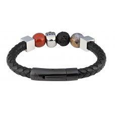Браслет ZIPPO, чёрный, нержавеющая сталь/натуральная кожа/природные камни, 22x1x1 см 2006277