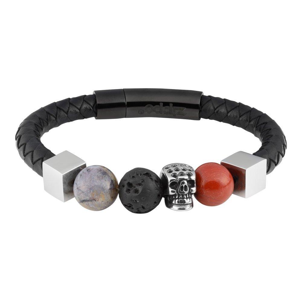 Браслет ZIPPO, чёрный, нержавеющая сталь/натуральная кожа/природные камни, 20x1x1 см 2006278