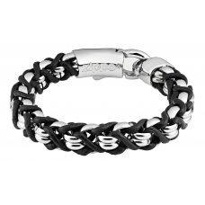 Браслет ZIPPO, чёрно-серебристый, нержавеющая сталь/натуральная кожа, 22x1.1x1 см 2006338