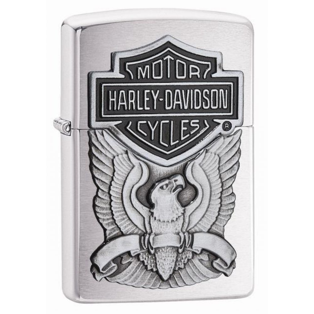 Зажигалка ZIPPO Harley-Davidson®, с покрытием Brushed Chrome, латунь/сталь, серебристая, 36x12x56 мм 200HD.H284