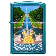 Зажигалка ZIPPO Петергофский фонтан, с покрытием Sapphire™, латунь/сталь, синяя, 36x12x56 мм 20446 PETRODVORETS