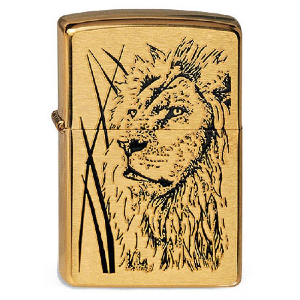 Зажигалка ZIPPO Proud Lion, с покрытием Brushed Brass, латунь/сталь, золотистая, 36x12x56 мм 204B Proud Lion