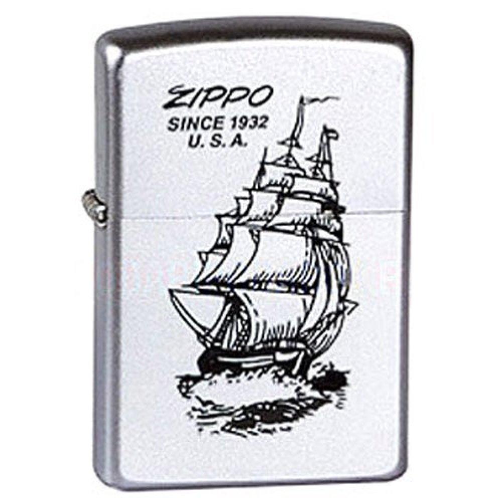 Зажигалка ZIPPO Boat-Zippo, с покрытием Satin Chrome™, латунь/сталь, серебристая, 36x12x56 мм 205 Boat-Zippo
