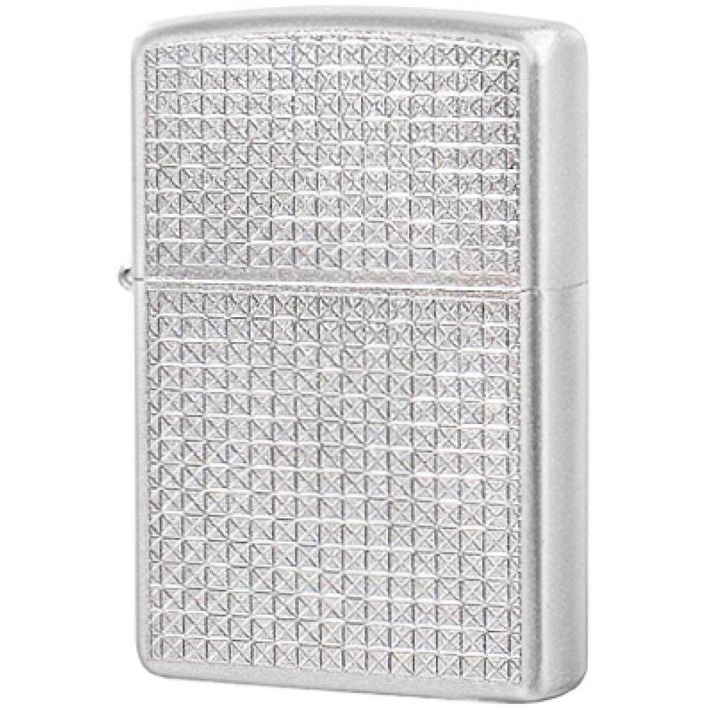 Зажигалка ZIPPO Diamond Plate, с покрытием Satin Chrome™, латунь/сталь, серебристая, 36x12x56 мм 205 Diamond Plate