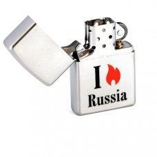 Зажигалка ZIPPO Flame Russia, с покрытием Satin Chrome™, латунь/сталь, серебристая, 36x12x56 мм 205 Flame Russia