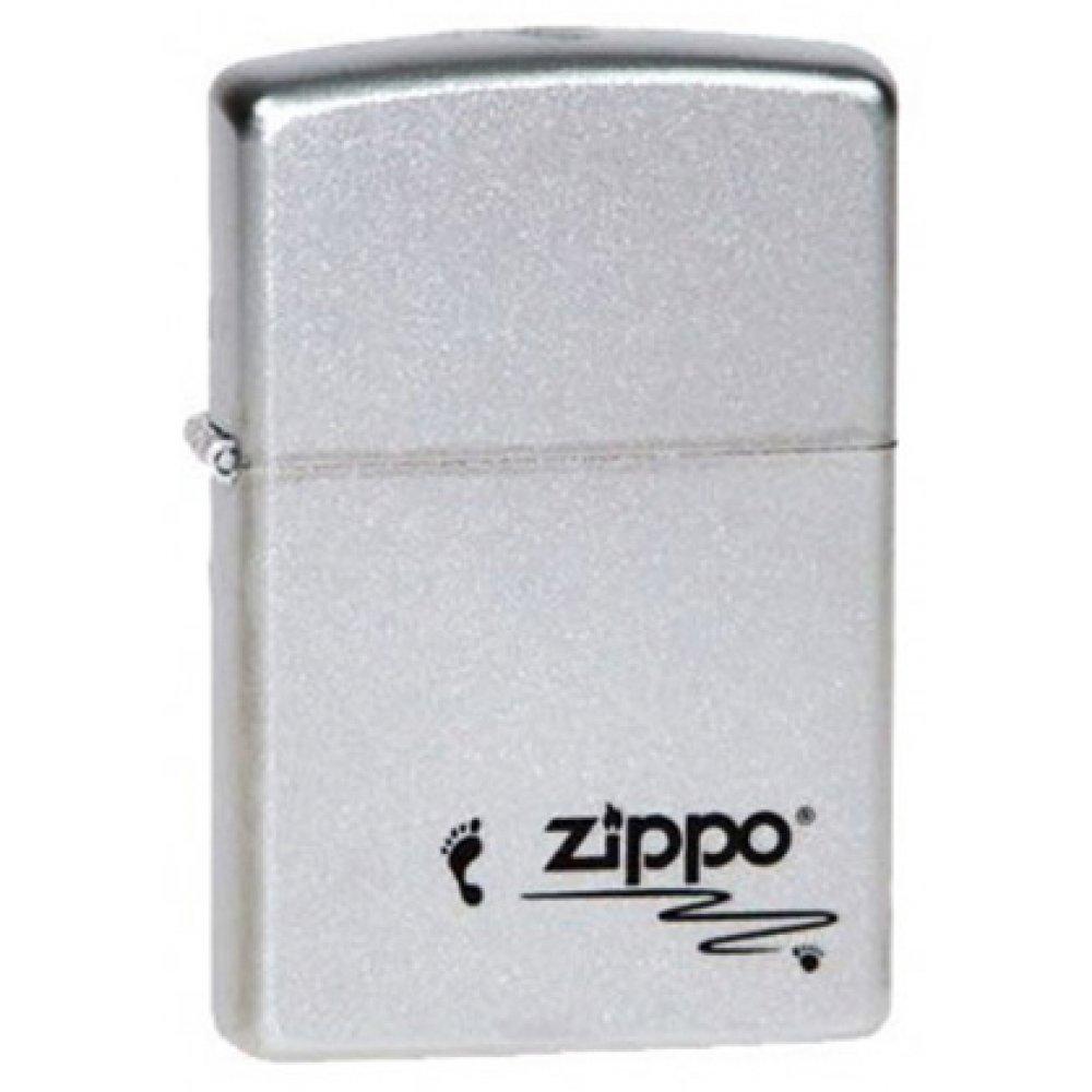 Зажигалка ZIPPO Footprints, с покрытием Satin Chrome™, латунь/сталь, серебристая, 36x12x56 мм 205 Footprints