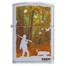 Зажигалка ZIPPO Осенняя охота, с покрытием Satin Chrome™, латунь/сталь, серебристая, 36x12x56 мм 205 HUNTING