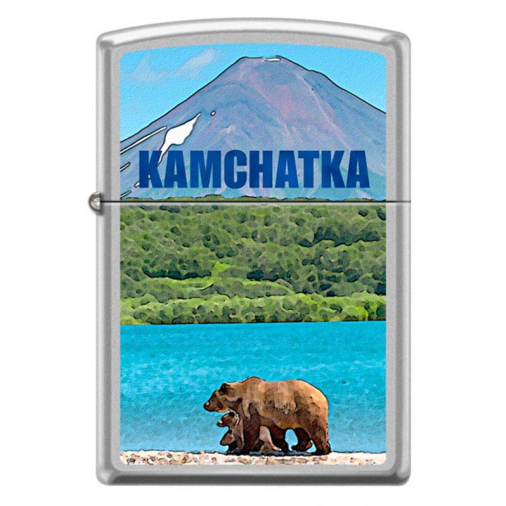 Зажигалка ZIPPO Камчатка с покрытием Satin Chrome™, латунь/сталь, серебристая, матовая, 36x12x56 мм 205 KAMCHATKA