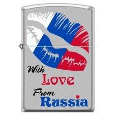 Зажигалка ZIPPO Из России с любовью, с покрытием Satin Chrome™, латунь/сталь, 36x12x56 мм 205 WITH LOVE FROM RUSSIA
