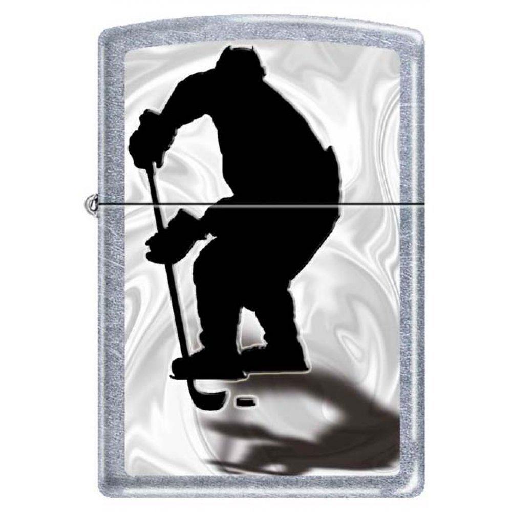 Зажигалка ZIPPO Хоккеист, с покрытием Street Chrome™, латунь/сталь, серебристая, 36x12x56 мм 207 HOCKEY