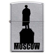 Зажигалка ZIPPO Памятник Пушкину, с покрытием Street Chrome™, латунь/сталь, серебристая, 36x12x56 мм 207 MOSCOW SILHOUETTE
