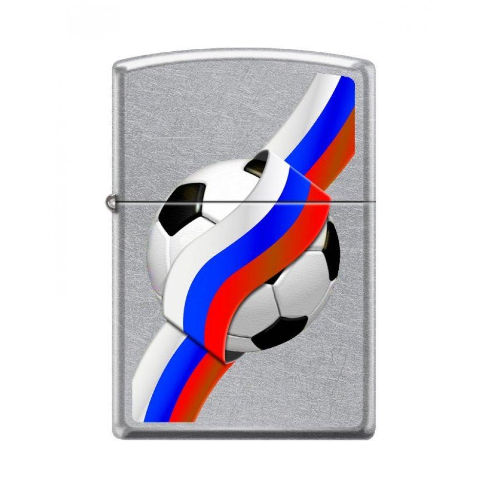 Зажигалка ZIPPO Российский футбол с покрытием Street Chrome™, латунь/сталь, серебристая, 36x12x56 мм 207 RUSSIAN SOCCER