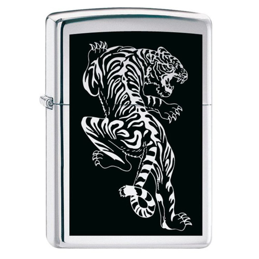 Зажигалка ZIPPO Tigre с покрытием Brushed Chrome, латунь/сталь, серебристая, матовая, 36x12x56 мм 207 Tigre