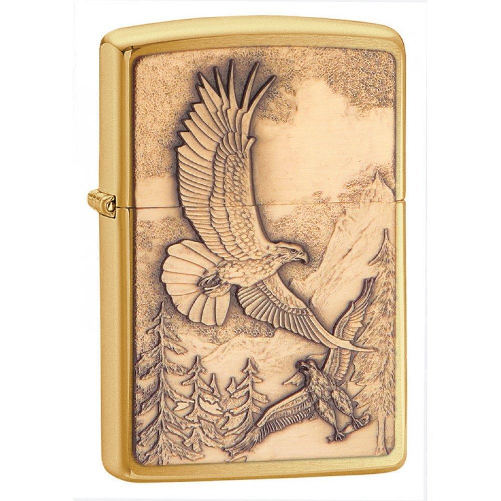 Зажигалка ZIPPO Eagles, с покрытием Brushed Brass, латунь/сталь, золотистая, матовая, 36x12x56 мм 20854