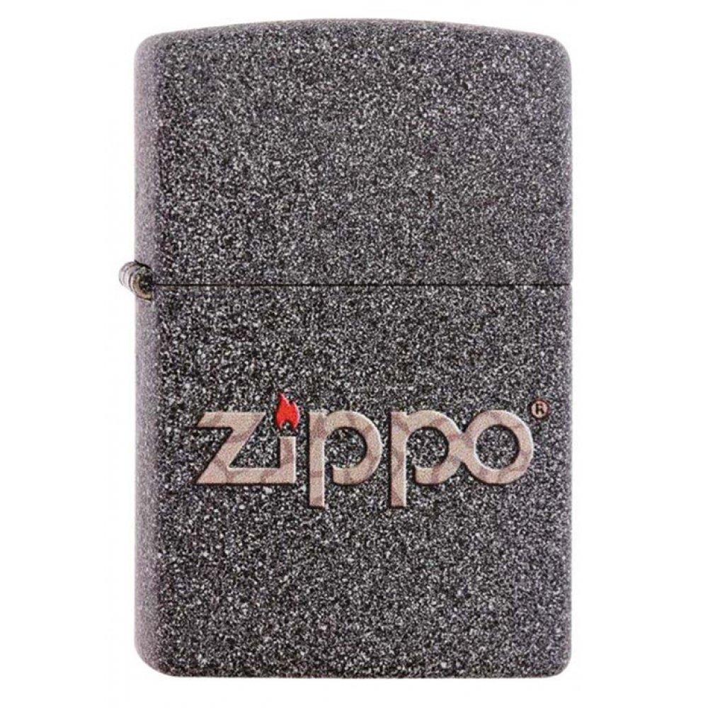 Зажигалка ZIPPO Classic с покрытием Iron Stone™, латунь/сталь, серая, матовая, 36x12x56 мм 211 SNAKESKIN ZIPPO LOGO