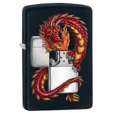 Зажигалка ZIPPO Дракон, с покрытием Black Matte, латунь/сталь, чёрная, матовая, 36x12x56 мм 218 ORIENTAL DRAGON