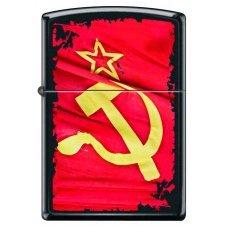 Зажигалка ZIPPO Серп и Молот, с покрытием Black Matte, латунь/сталь, чёрная, матовая, 36x12x56 мм 218 SOVIET FLAG SICKLE