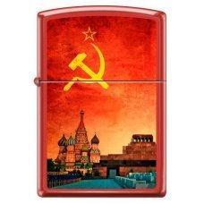 Зажигалка ZIPPO Красная Москва, с покрытием Red Matte, латунь/сталь, красная, матовая, 36x12x56 мм 233 SOVIET DESIGN