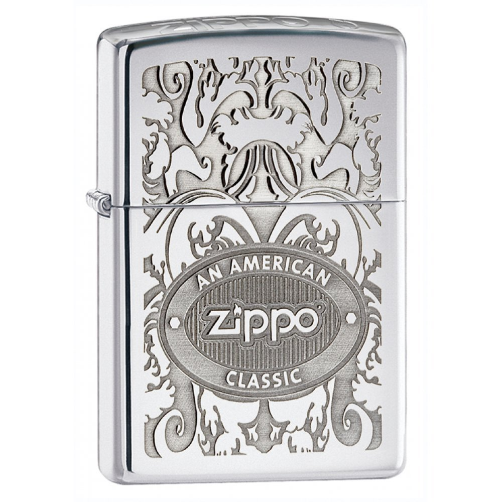 Зажигалка ZIPPO Crown Stamp™ с покрытием High Polish Chrome, латунь/сталь, серебристая, 36x12x56 мм 24751