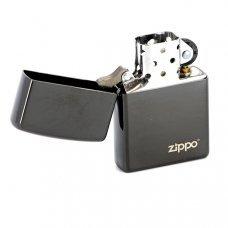 Зажигалка ZIPPO Classic с покрытием Ebony™, латунь/сталь, чёрная с логотипом, глянцевая, 36x12x56 мм 24756ZL