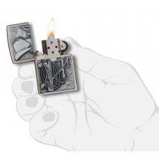 Зажигалка ZIPPO Classic с покрытием Brushed Chrome, латунь/сталь, серебристая, матовая, 36x12x56 мм 24879