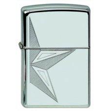 Зажигалка ZIPPO Classic с покрытием High Polish Chrome, латунь/сталь, серебристая, 36x12x56 мм 250 HALF STAR