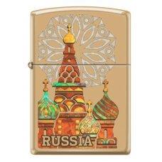 Зажигалка ZIPPO Россия с покрытием High Polish Brass, латунь/сталь, золотистая, 36x12x56 мм 254B KREMLIN
