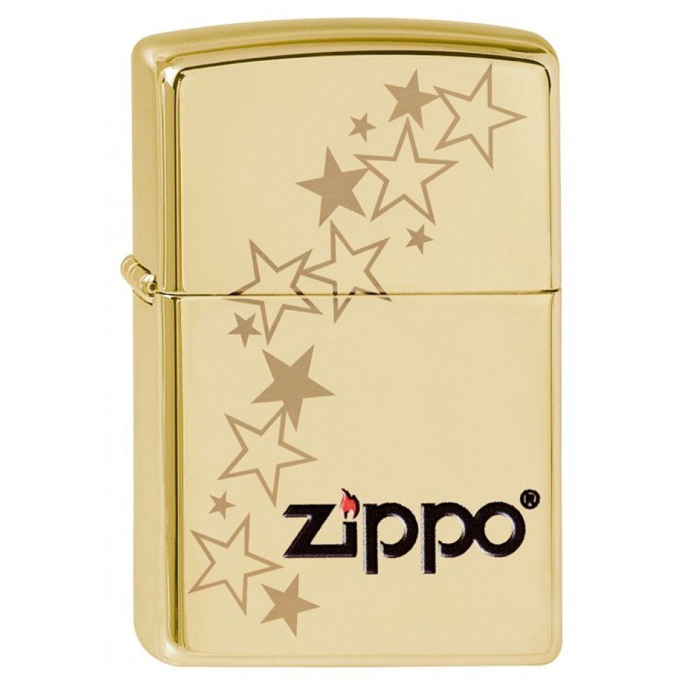 Зажигалка ZIPPO Classic с покрытием High Polish Brass, латунь/сталь, золотистая, 36x12x56 мм 254B Zippo stars