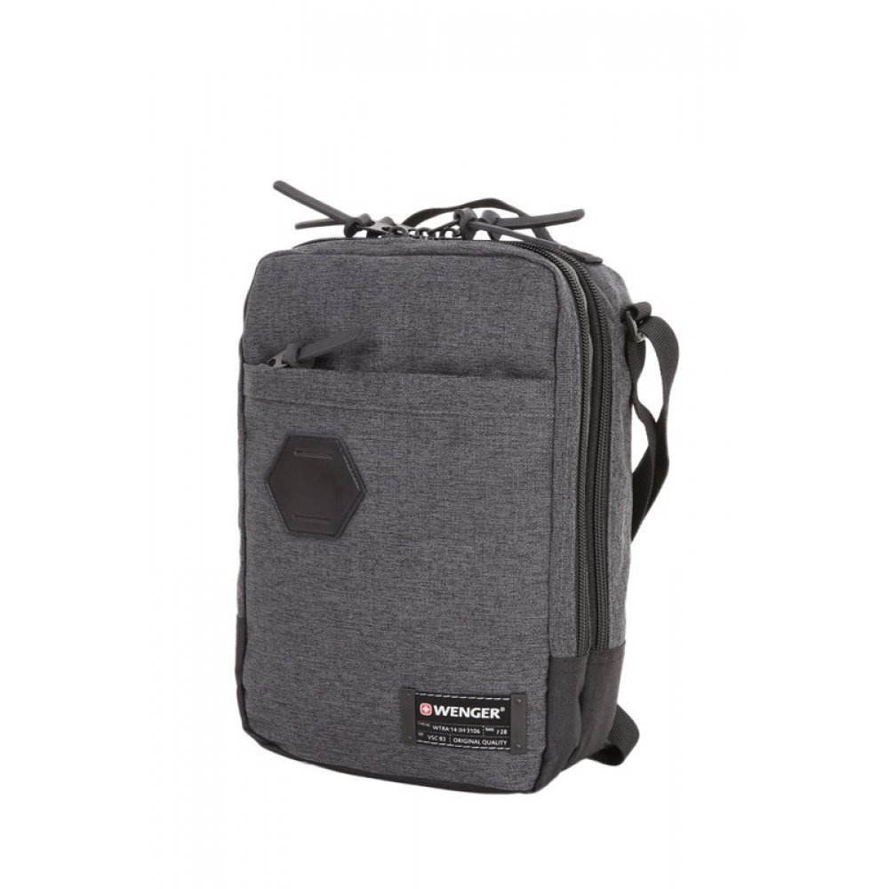 Сумка наплечная вертикальная WENGER, cерая, ткань Grey Heather/ полиэстер 600D PU , 19х11х28 см, 6 л 2606424532