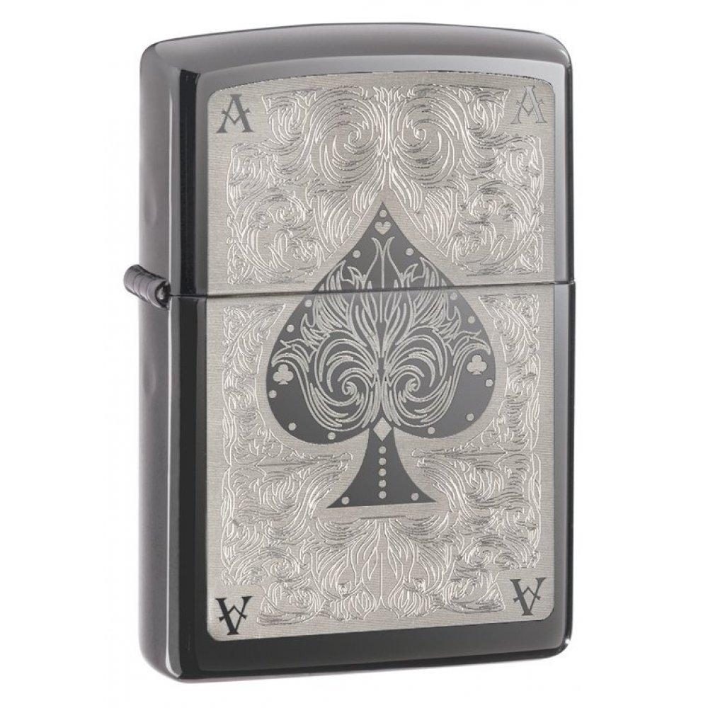 Зажигалка ZIPPO Classic с покрытием Black Ice ®, латунь/сталь, чёрная, глянцевая, 36x12x56 мм 28323
