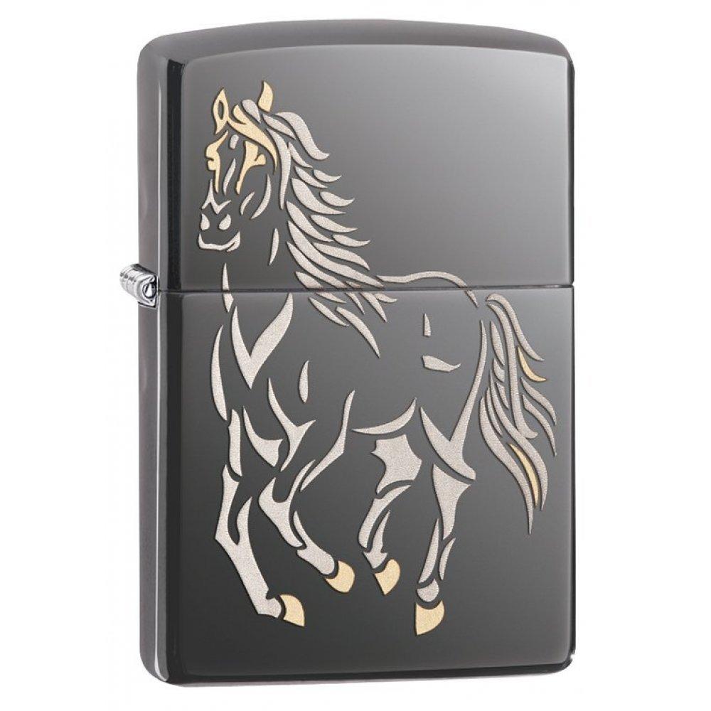 Зажигалка ZIPPO Classic с покрытием Black Ice ®, латунь/сталь, чёрная, глянцевая, 36x12x56 мм 28645