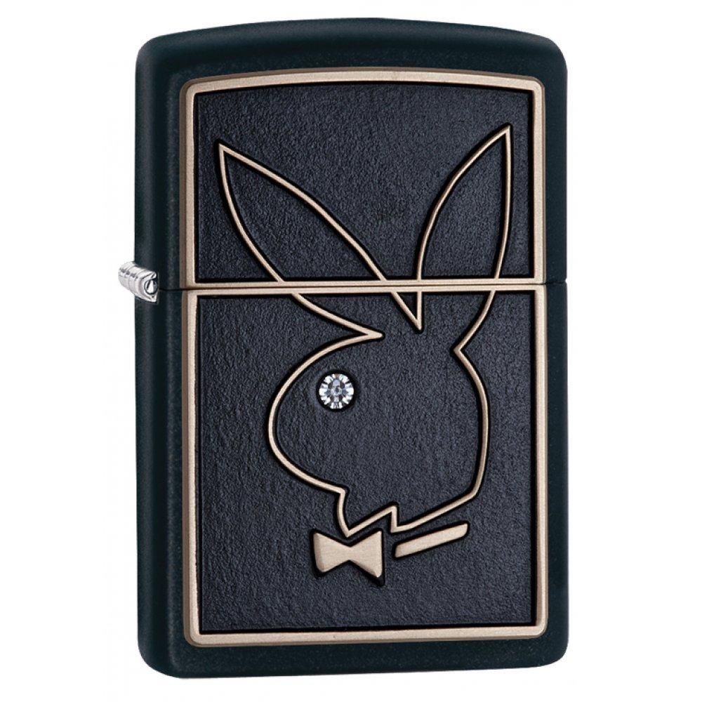 Зажигалка ZIPPO Playboy с покрытием Black Matte, латунь/сталь, чёрная, матовая, 36x12x56 мм 28816