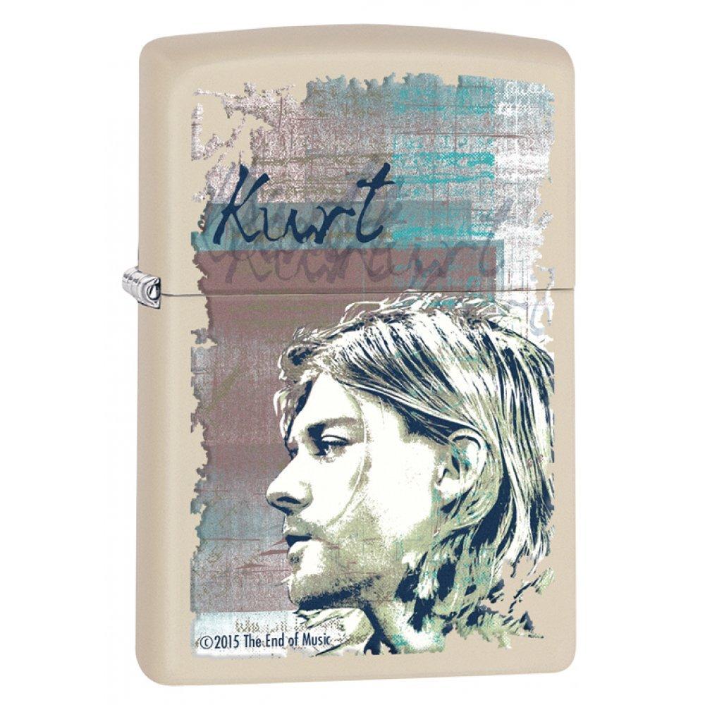 Зажигалка ZIPPO Kurt Cobain с покрытием Cream Matte, латунь/сталь, кремовая, матовая, 36x12x56 мм 29051
