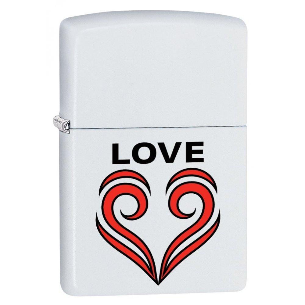 Зажигалка ZIPPO 214 Love Theme с покрытием White Matte, латунь/сталь, белая, матовая, 36x12x56 мм 29193