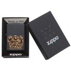 Зажигалка ZIPPO Classic с покрытием Black Matte, латунь/сталь, чёрная, матовая, 36x12x56 мм 29409