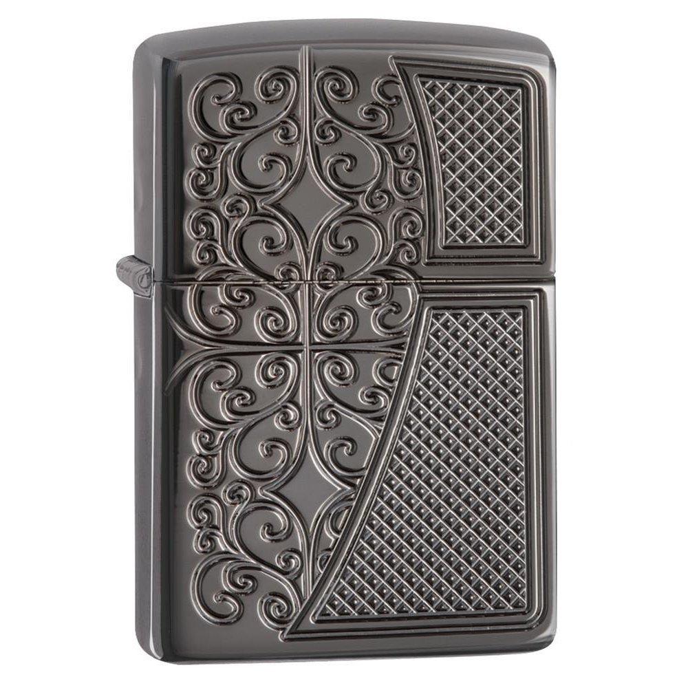 Зажигалка ZIPPO Armor™ с покрытием Black Ice®, латунь/сталь,чёрная, глянцевая, 37х13x58 мм 29498