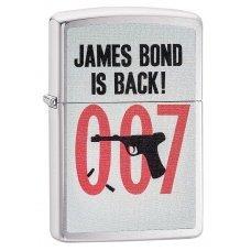 Зажигалка ZIPPO James Bond с покрытием Brushed Chrome, латунь/сталь, серебристая, 36x12x56 мм 29563