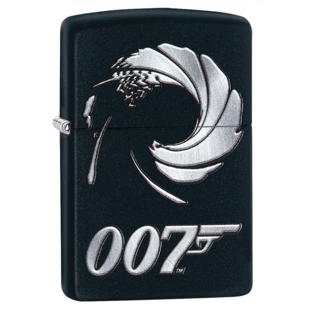 Зажигалка ZIPPO James Bond с покрытием Black Matte, латунь/сталь, чёрная, матовая, 36x12x56 мм 29566