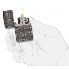 Зажигалка ZIPPO Armor® с покрытием Black Ice®, латунь/сталь, чёрная, глянцевая, 37х13x58 мм 29665