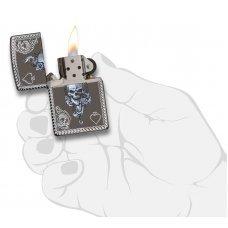 Зажигалка ZIPPO Armor® с покрытием Black Ice®, латунь/сталь, чёрная, глянцевая, 37х13x58 мм 29666