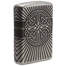 Зажигалка ZIPPO Armor® с покрытием Antique Silver, латунь/сталь, серебристая, матовая, 37х13x58 мм 29667