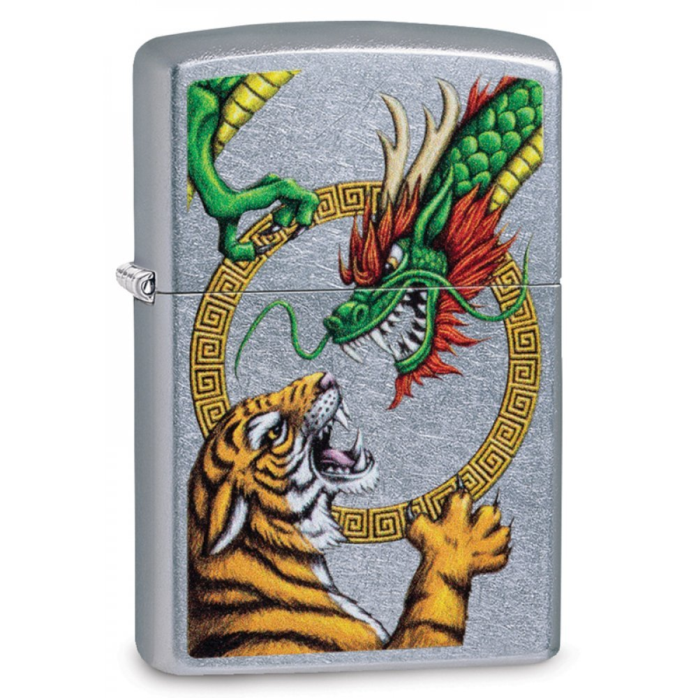 Зажигалка ZIPPO Dragon Design с покрытием Street Chrome™, латунь/сталь, серебристая, 36x12x56 мм 29837